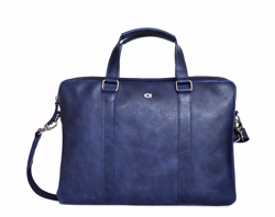 "14"" Leather Laptop Bag, Navy"
