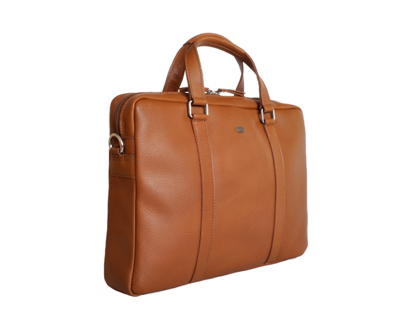 "14"" Leather Laptop Bag, Cognac"