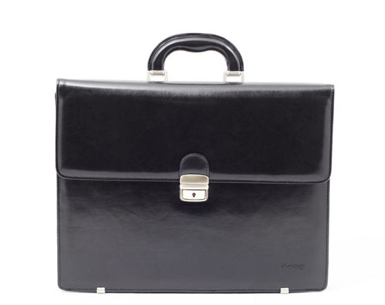 "Black Leather Briefcase, City Line with metal footer, ""Gaudi"""