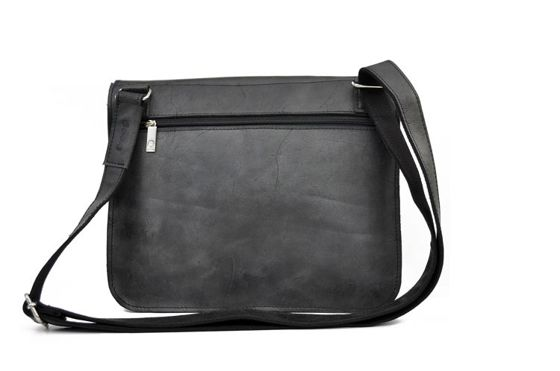 "Black Leather Shoulder Bag ""Funky Go 12"""