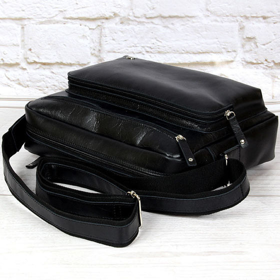 Black Messenger Bag with front pocket, Jazzy Party 56