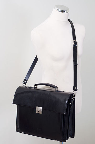 "Classic Look Black Briefcase with notebook sleeve, ""Odin"""