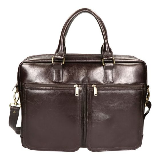 "Double Chamber Leather 17"" Laptop Bag, ""Crispera"" MTL 1901"