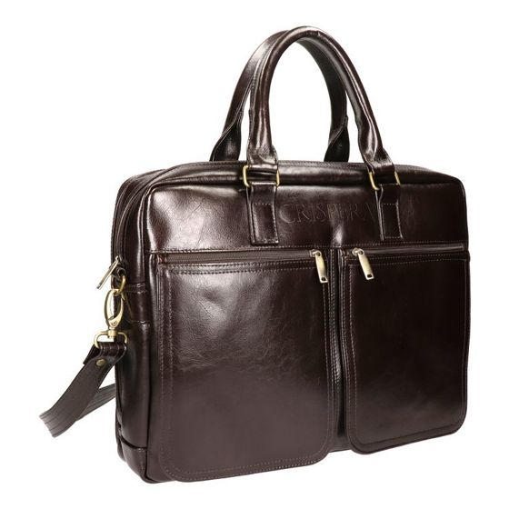 "Double Chamber Leather 17"" Laptop Bag, MTL 1901"