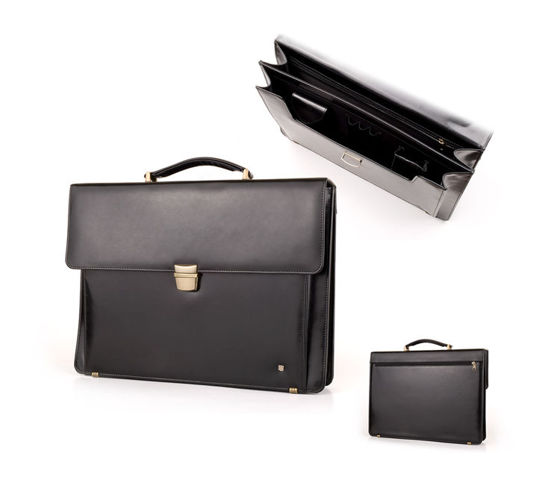 Modern Look Black Leather Briefcase B-833DW